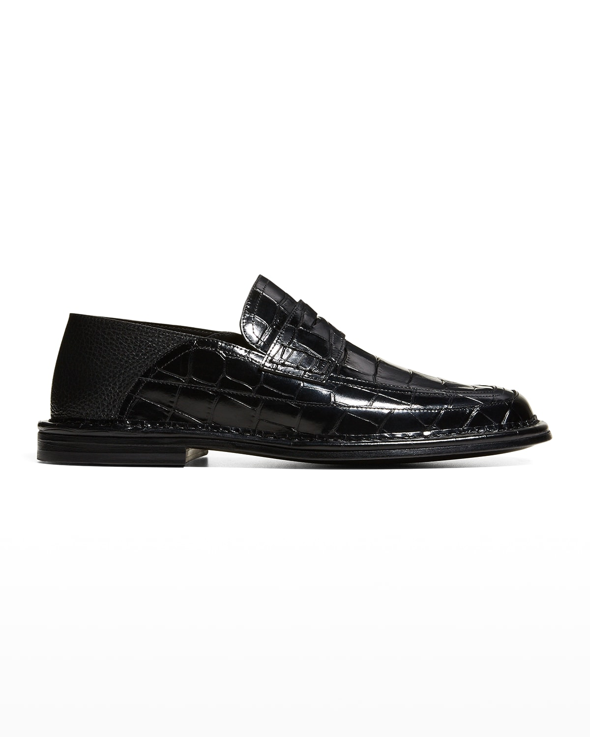 Men's Croc-Embossed Fold-Down Penny Loafers