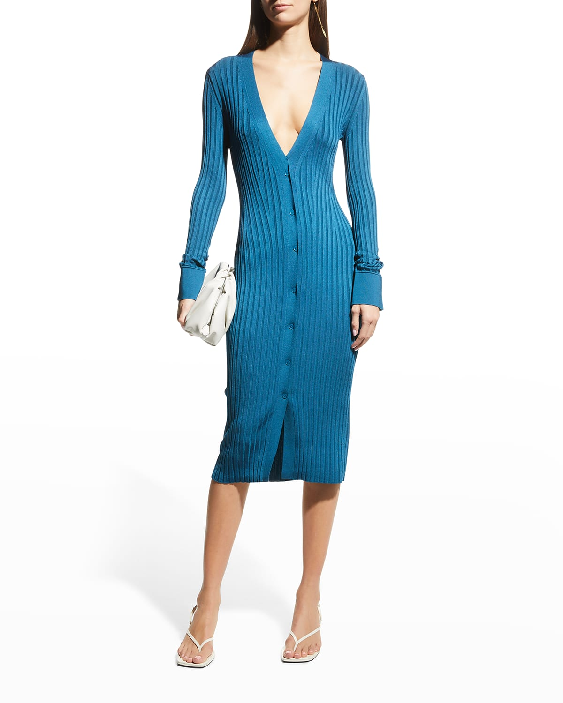 Rhea Ribbed-Knit Cardigan Dress