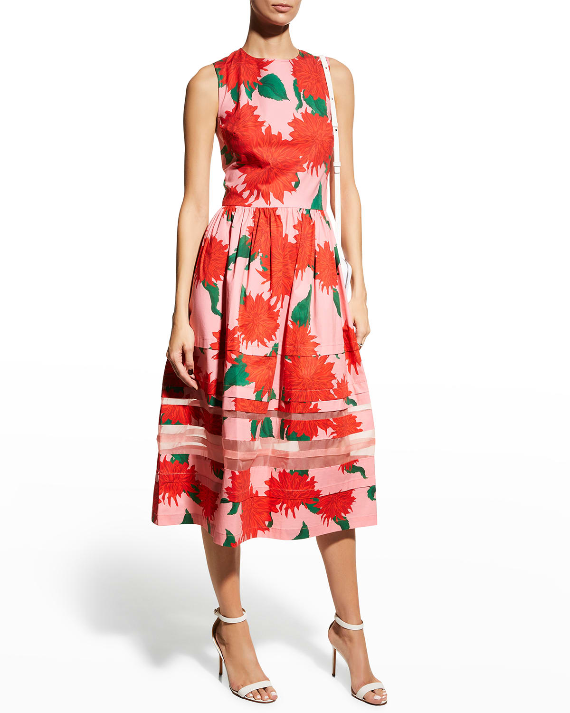 Floral-Print Organza Pleated Midi Dress