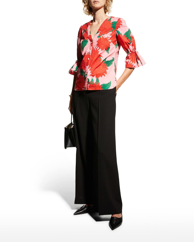 Floral-Print Ruffle Poplin Shirt
