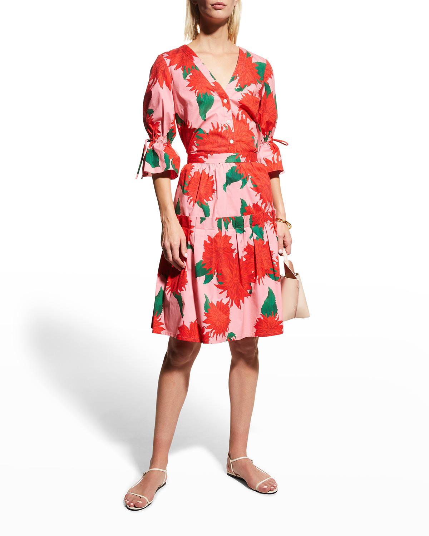 Floral-Print Drop-Waist Ruffle Skirt