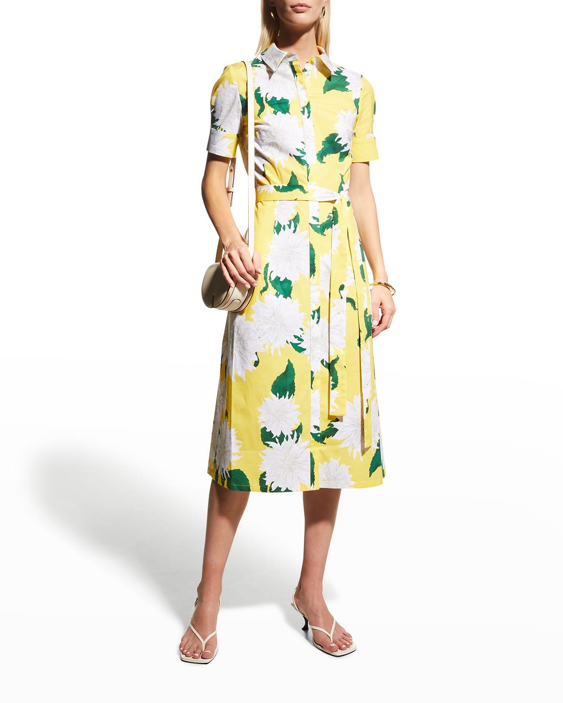 Floral-Print Belted Midi Shirtdress