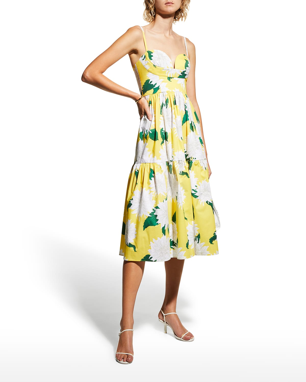 Floral-Print Tiered Bustier Midi Dress