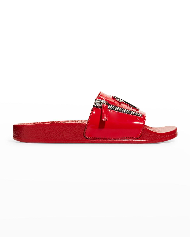 Men's Cantadora Logo Zip Patent Slide Sandals