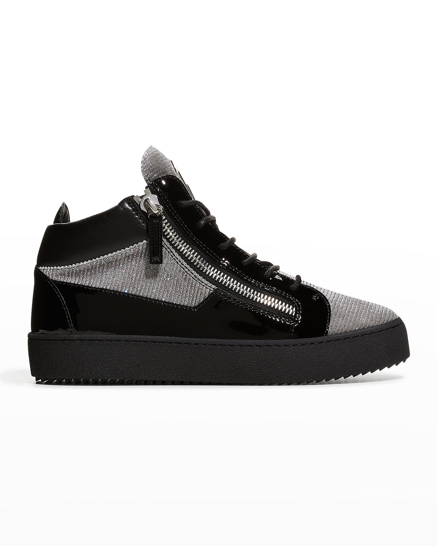 Men's Kenin Double-Zip Patent Glitter Mid-Top Sneakers