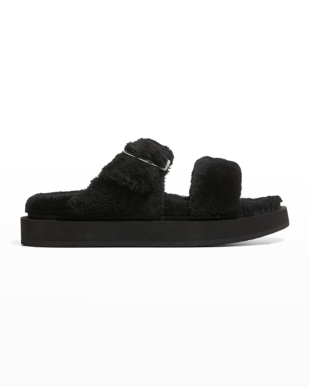 Men's Shearling Buckle Slide Sandals