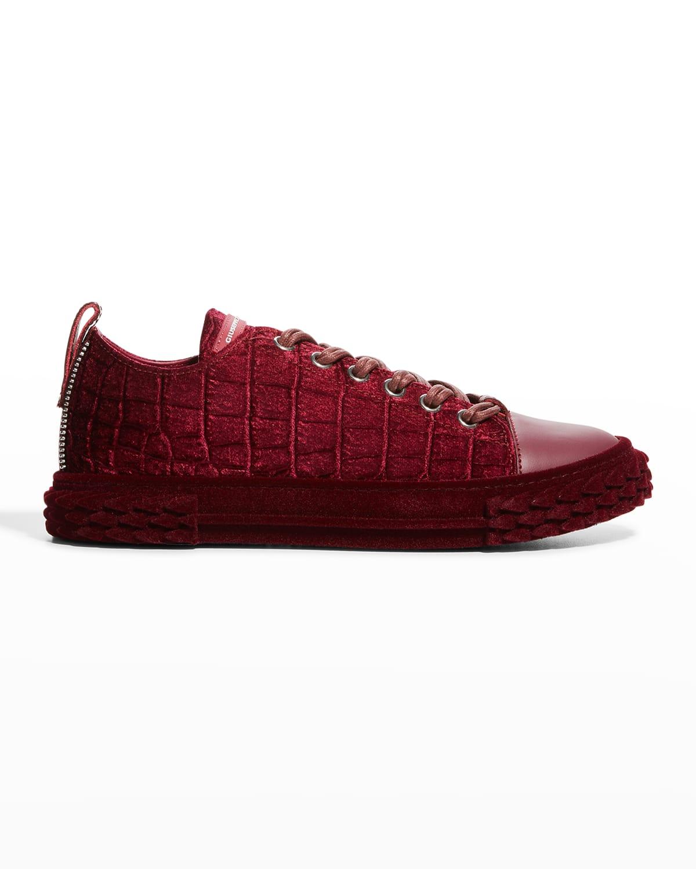 Men's Blabber Moc-Croc Suede Low-Top Sneakers