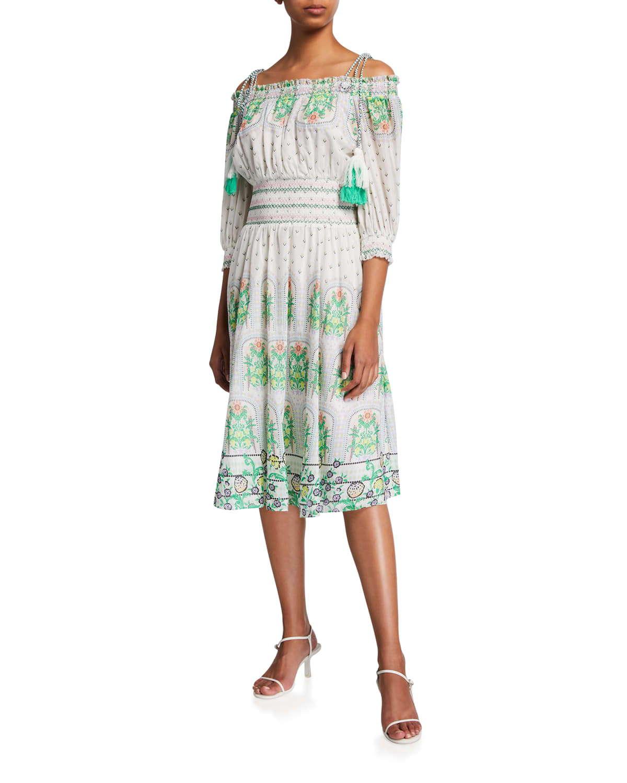 Cade Off-Shoulder Smocked Midi Dress