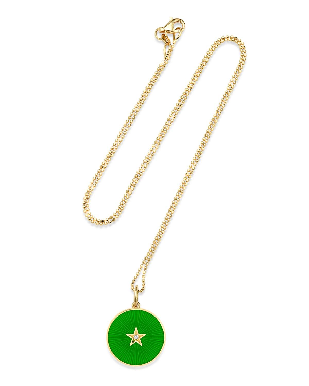 Textured Enamel Full Moon Necklace