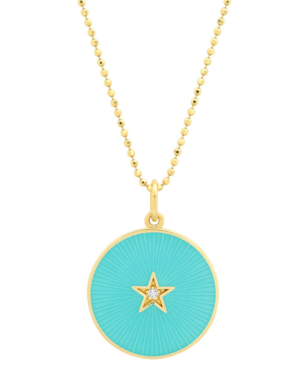 18k Gold Textured Turquoise Diamond Pendant Necklace