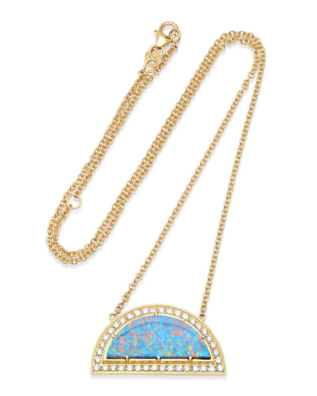 Opal Rainbow & White Diamond Necklace