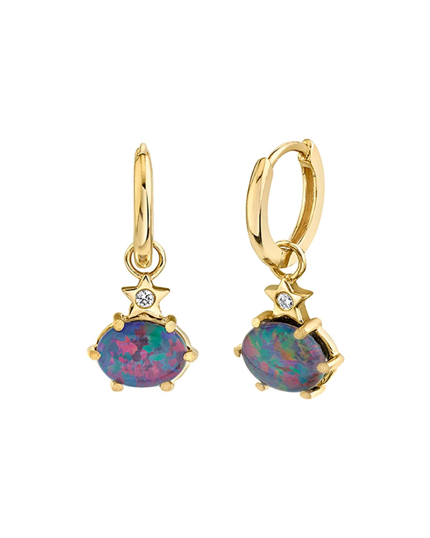 Mini Cosmo Opal & Diamond Hoop Drop Earrings