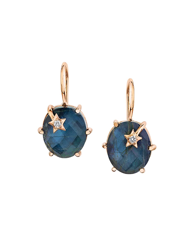18k Labradorite & Hematite Mini Galaxy Earrings