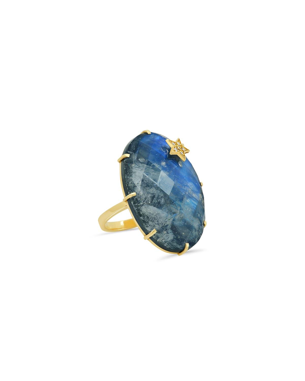 Rainbow Moonstone and Hematite Oval Ring