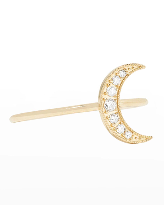 18k Gold Diamond Crescent Ring