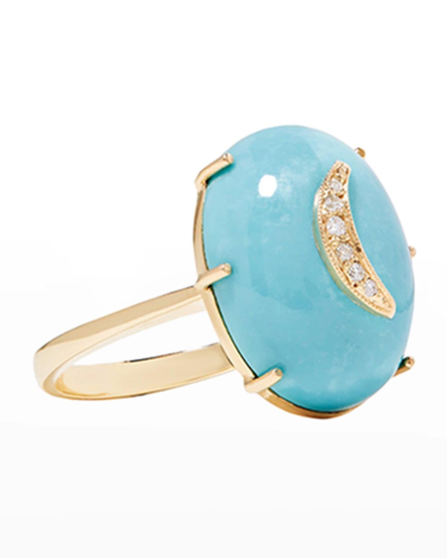 14k Gold Nebula Turquoise Diamond Crescent Ring