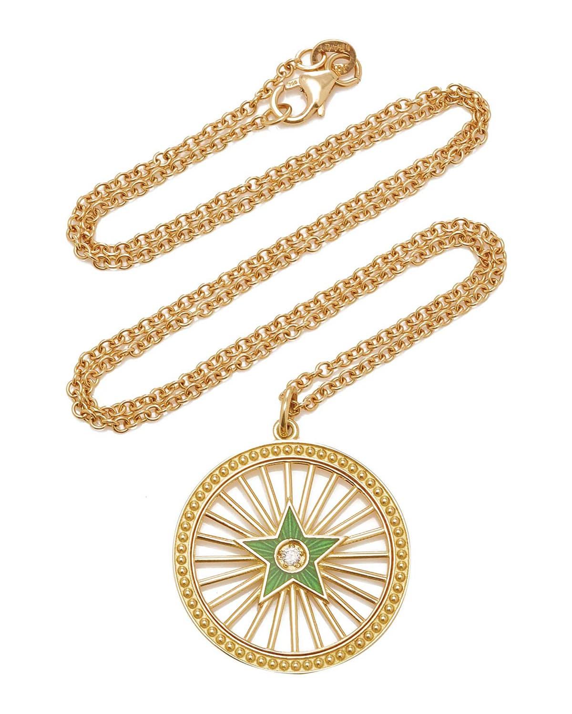 Green Enamel Starburst and Diamond Necklace