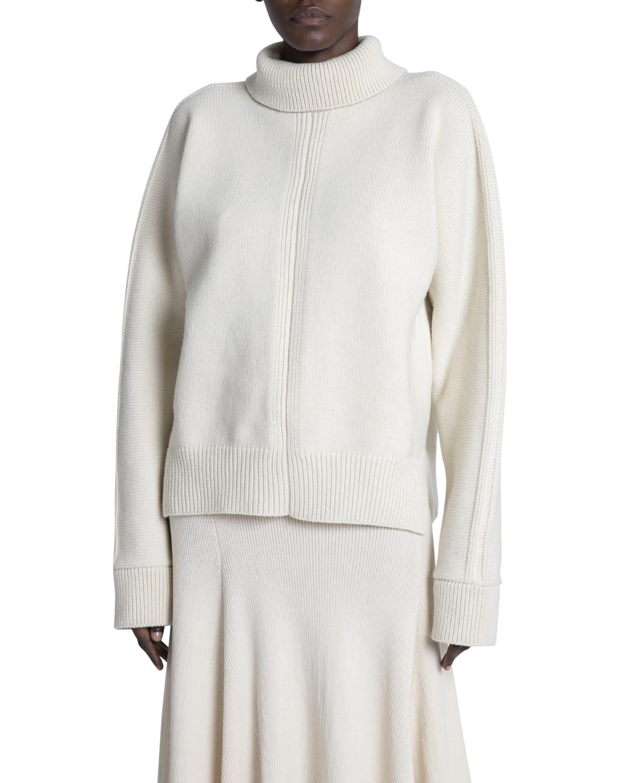 Open-Back Wool Turtleneck Sweater