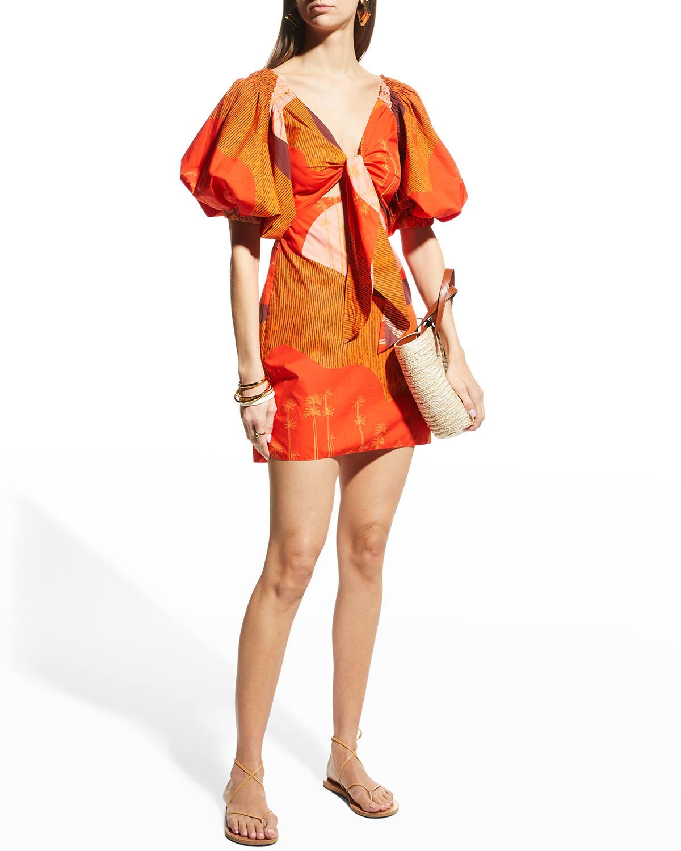 Tie-Front Puff-Sleeve Mini Dress