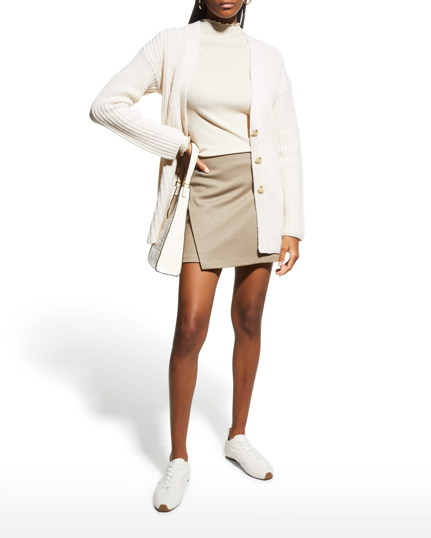 Asymmetric Paneled Wool Skirt