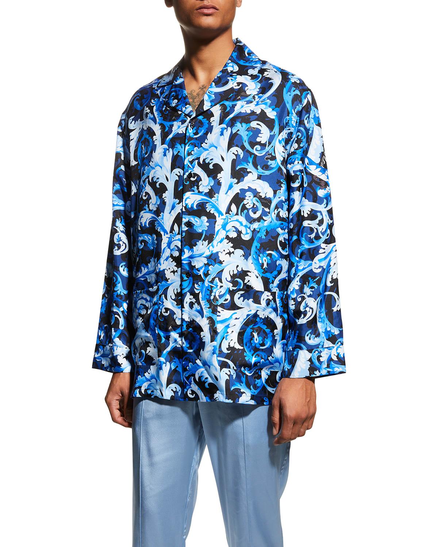 Men's Baroccoflage-Print Silk Pajama Top