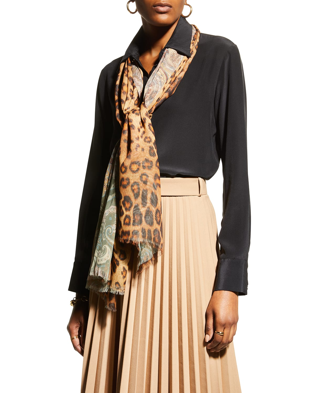 Delhy Floral & Leopard-Print Double-Face Silk Scarf