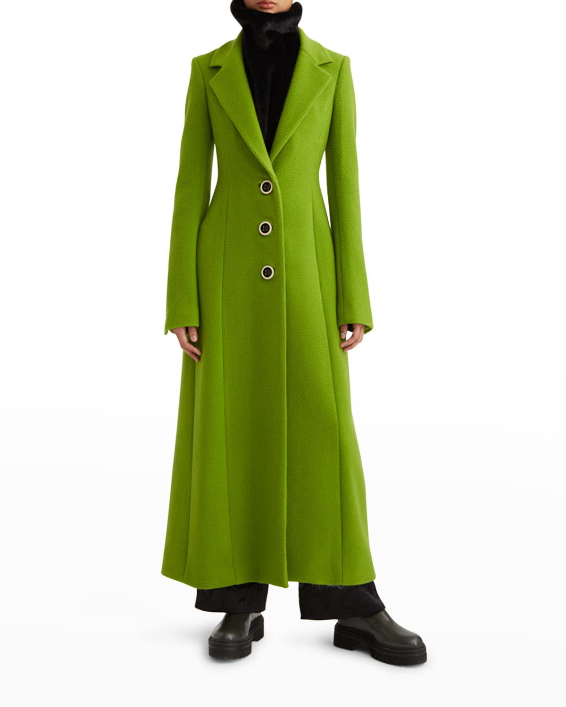 Tailored Waist Wool Coat Dress