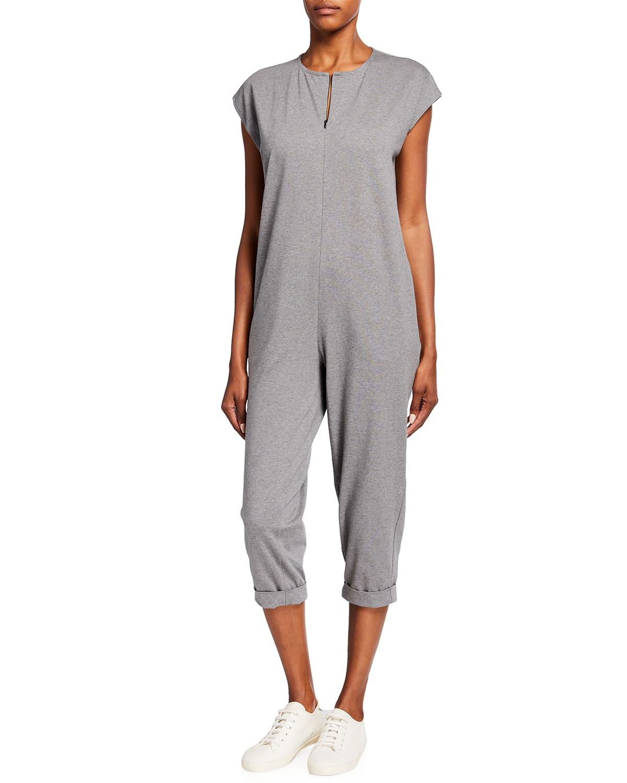 Heathered Organic Cotton Jersey Cropped Jumpsuit