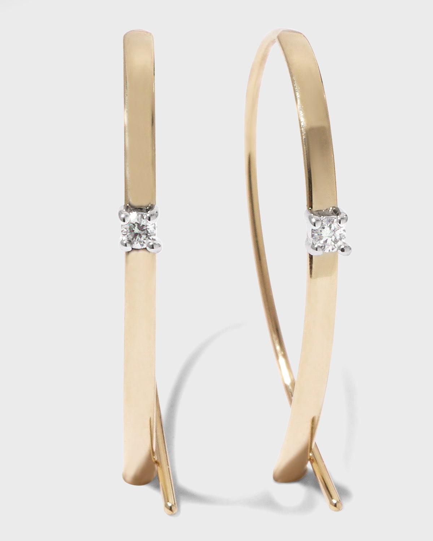 Solo Mini Flat Upside Down Hoops with Diamonds
