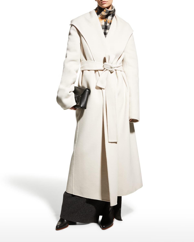Hooded Wrap Wool Belted Coat