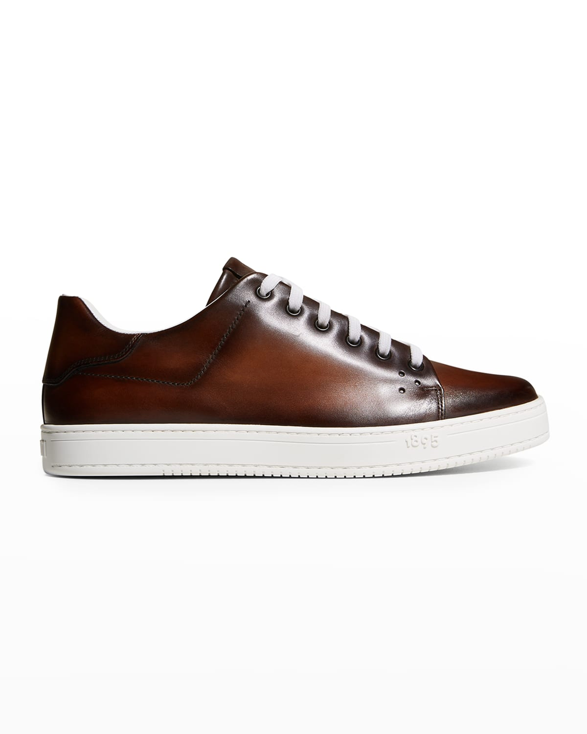 Men's Burnished Leather Low-Top Sneakers