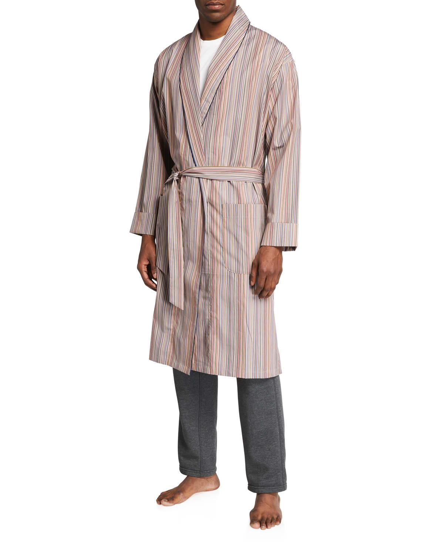 Men's Multi-Stripe Cotton Robe