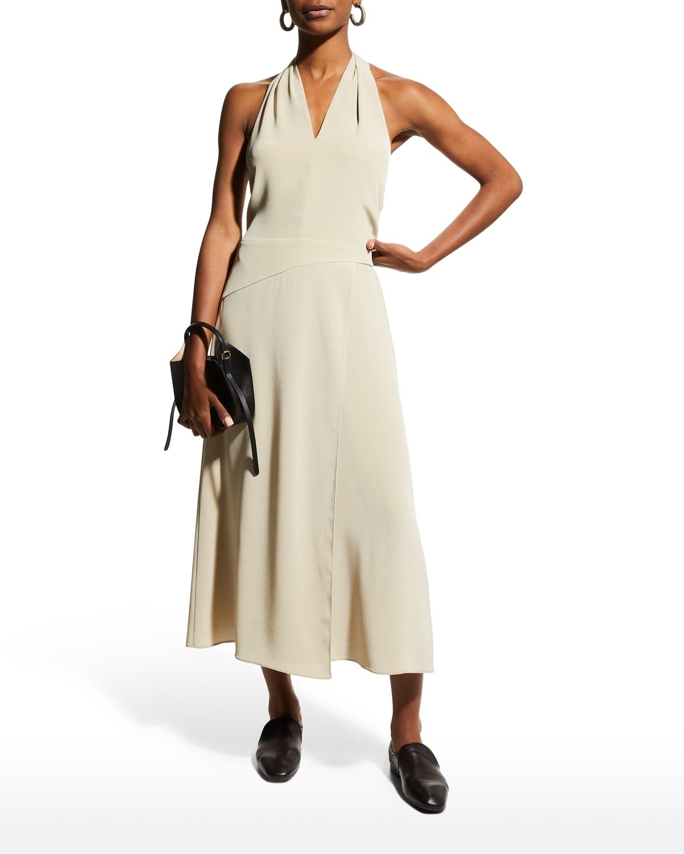 Tie-Back Paneled Halter Midi Dress