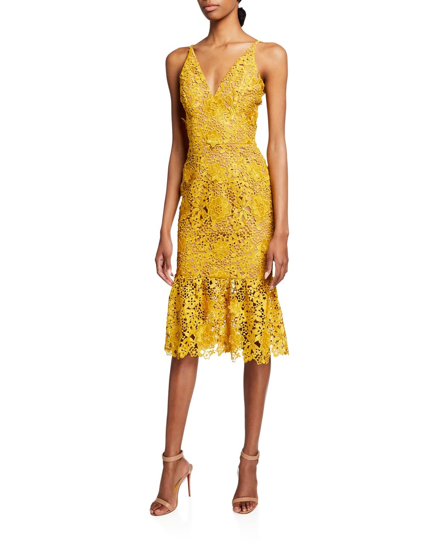 Astrid Floral Lace V-Neck Flounce-Hem Dress