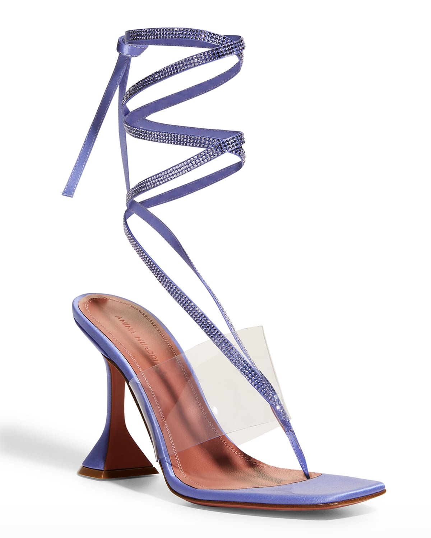 Zula Crystal Silk Ankle-Tie Thong High-Heel Sandals