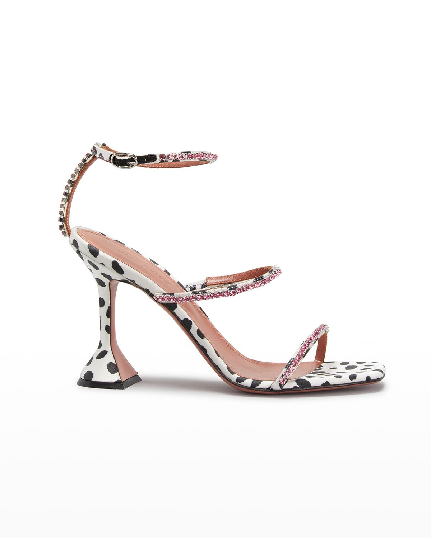 Gilda Dalmatian-Print Strappy Crystal High-Heel Sandals