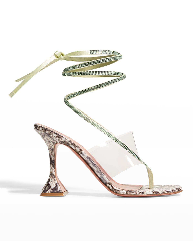 Zula Crystal Snake-Print Ankle-Tie Thong High-Heel Sandals