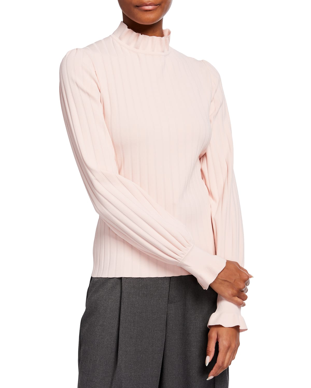 Zoraide Ruffle-Collar Ribbed Sweater