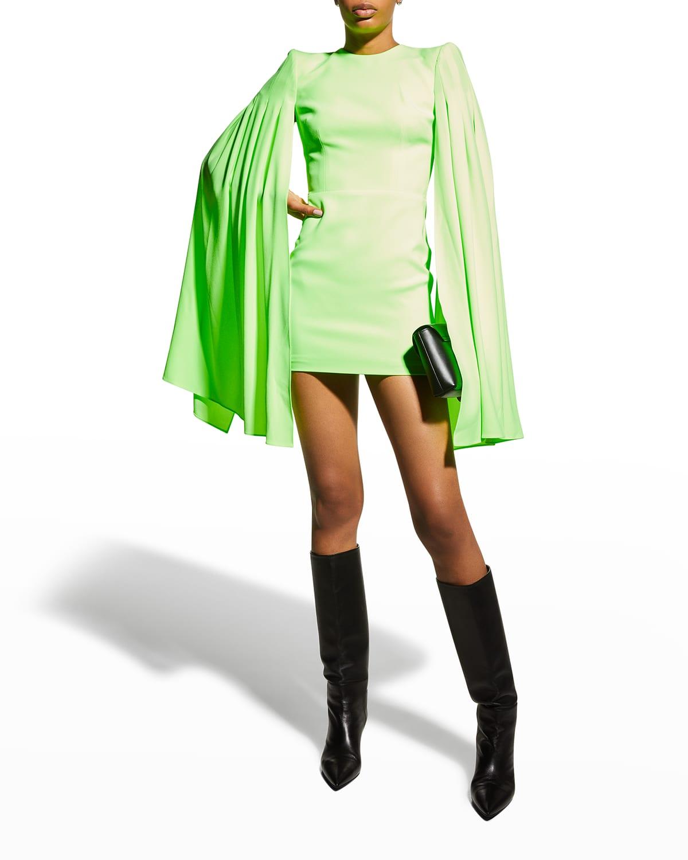 Tatum Pleated Cape-Sleeve Mini Dress
