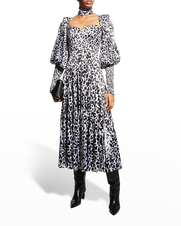 Addilyn Leopard-Print Satin Midi Dress