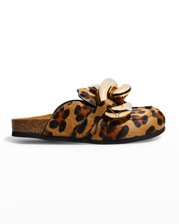 Leopard-Print Fur Chain Slide Mules