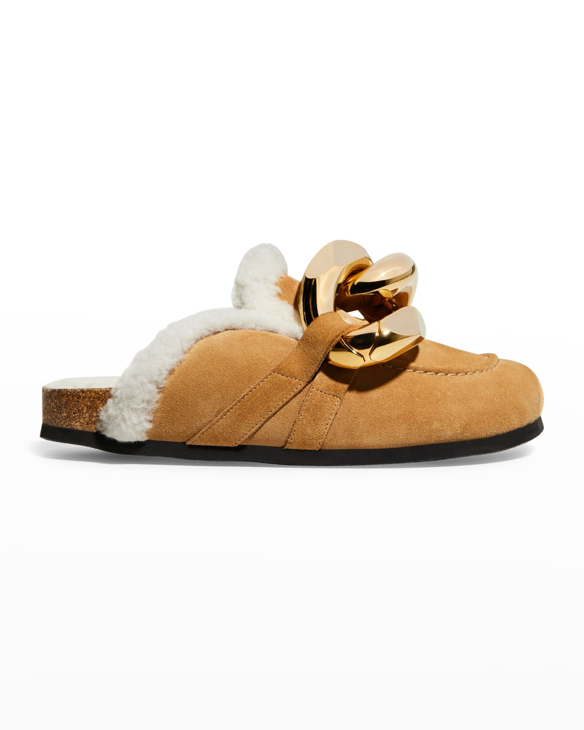 Suede Shearling Chain Mules