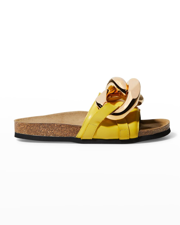 Calfskin Chain Slide Sandals