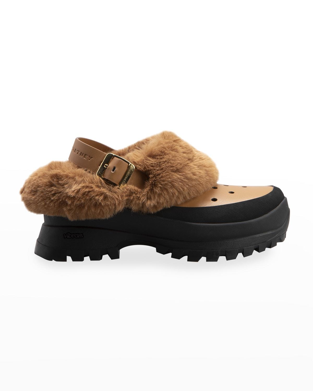 Trace Faux-Fur Slingback Clogs