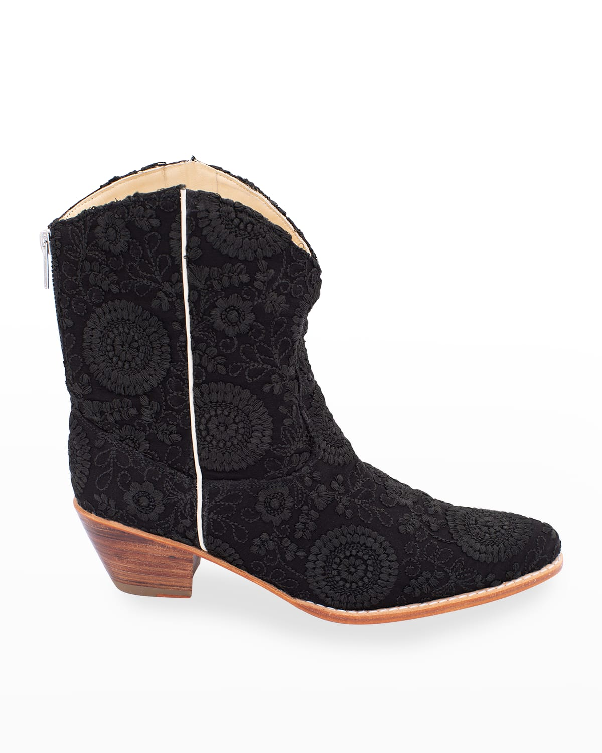Embroidered Silk Short Western Booties
