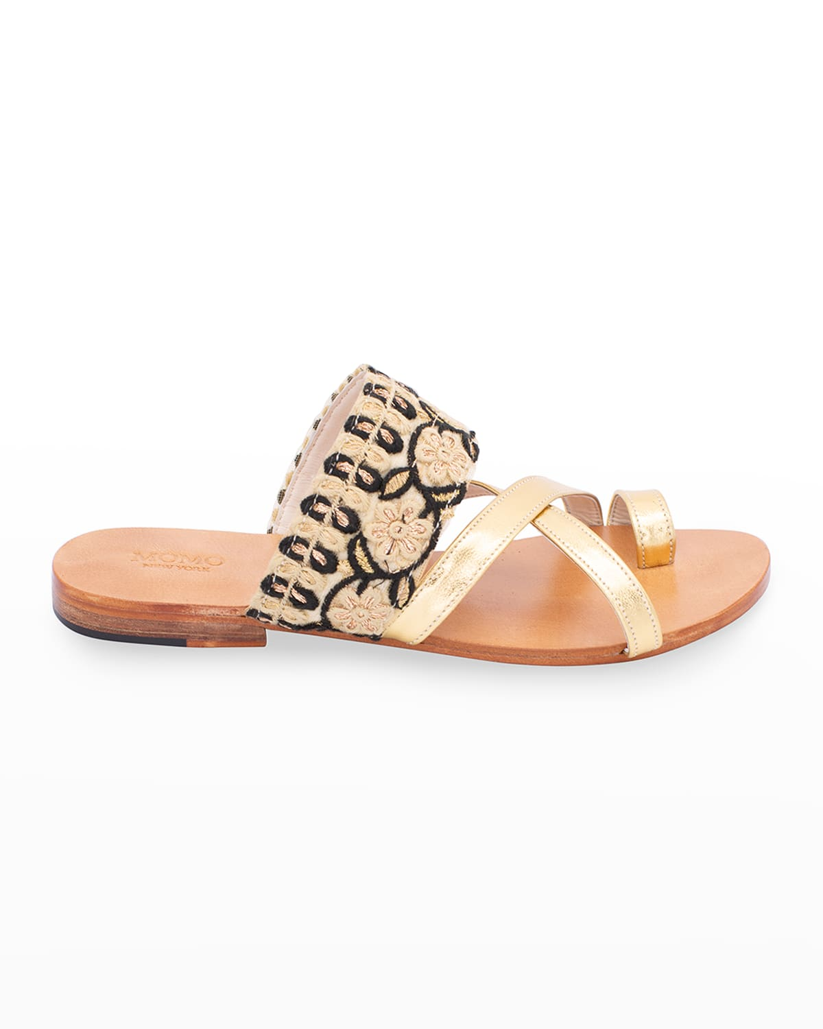 Emelie Embroidered Toe-Ring Sandals