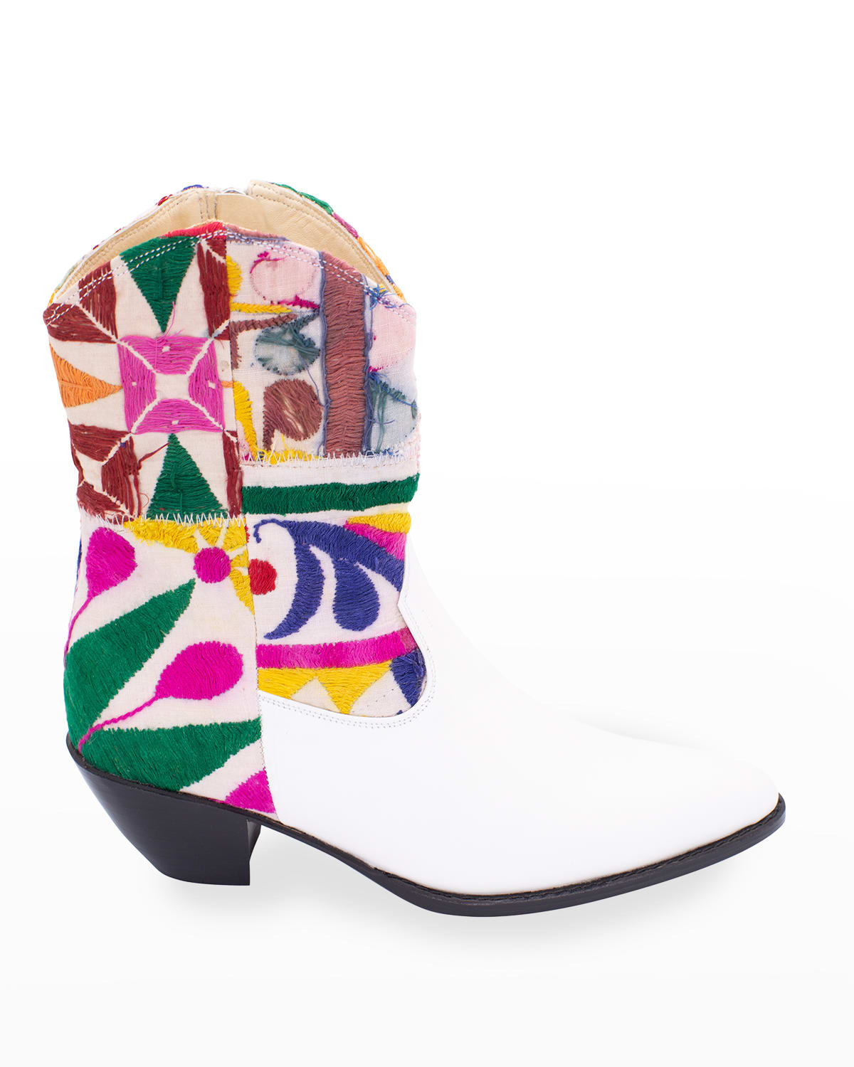 Embroidered Patchwork Short Western Booties