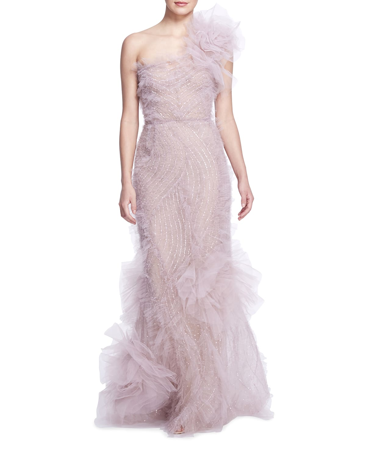 One-Shoulder Beaded Ephemeral Tulle Gown
