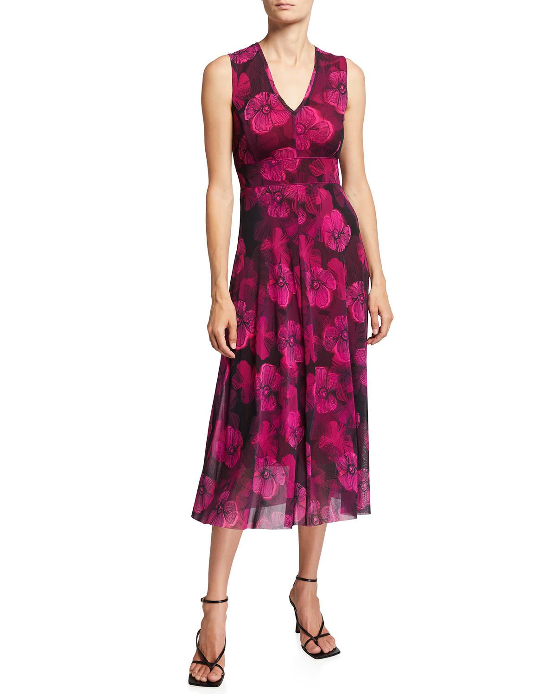 Small Floral Deco Sleeveless Midi Dress