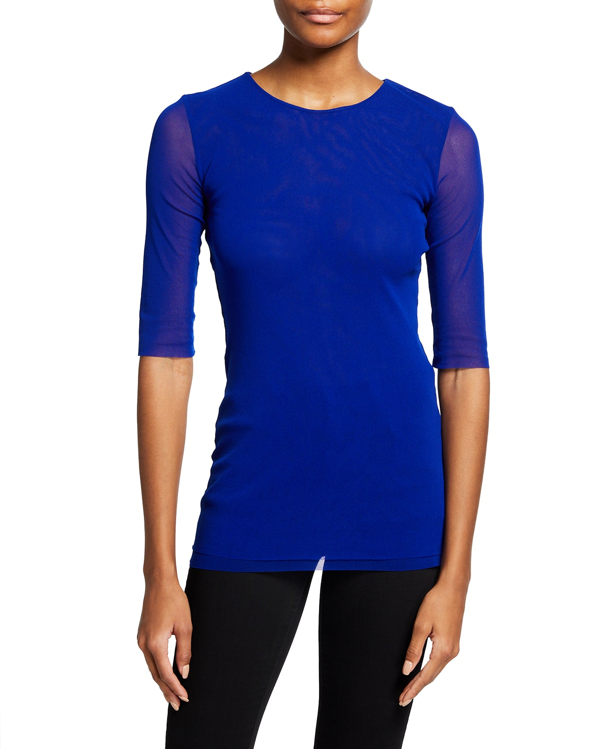 Solid Tulle Crewneck T-Shirt